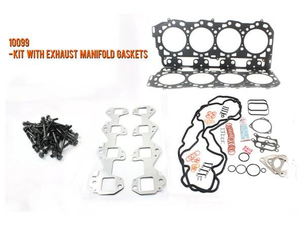 Merchant Automotive - LB7 Head Gasket Kit With Exhaust Manifold Gaskets and OEM Cylinder Head Bolts, Duramax